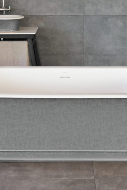 CADA BAIE FREESTANDING SOLID SURFACE SILVER CLASSIC